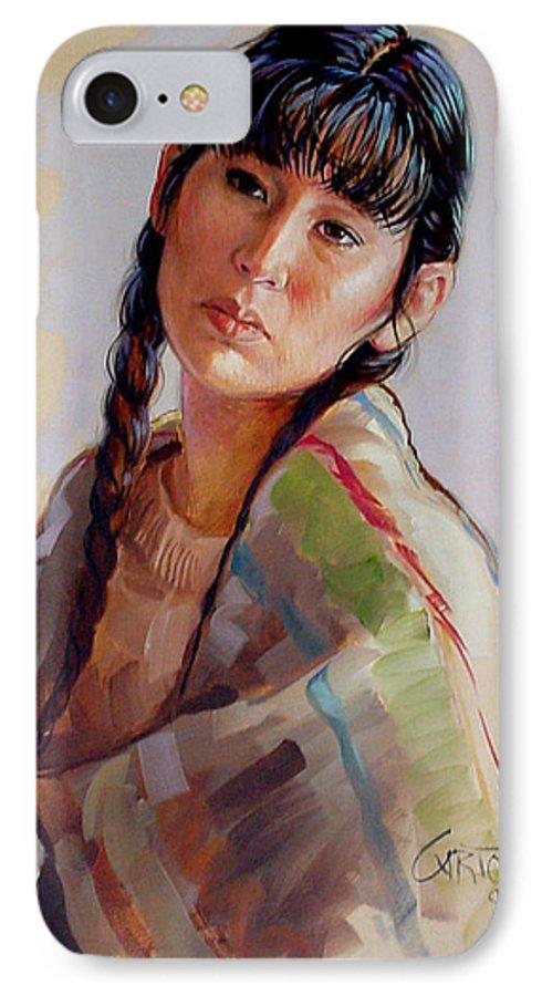 Sacajawea IPhone 7 Case featuring the painting Sacajawea  Study by Jerrold Carton