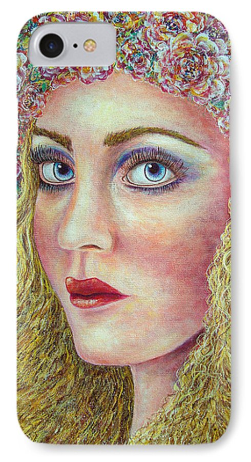 Woman IPhone 7 Case featuring the painting  The Flower Girl by Natalie Holland