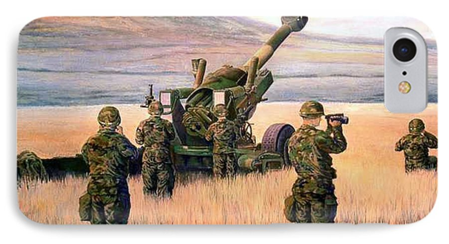 Signed And Numbered Prints Of The Montana National Guard IPhone 7 Case featuring the print 1-190th Artillery by Scott Robertson