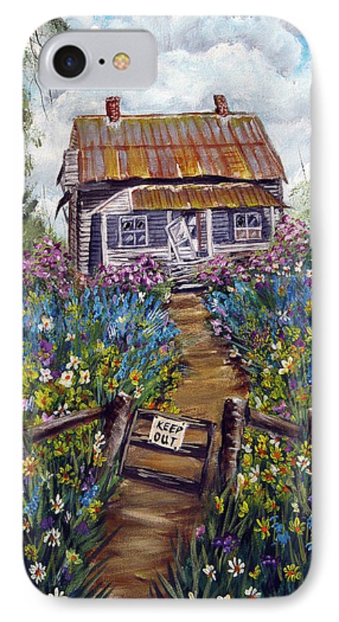 House IPhone 7 Case featuring the painting Abandoned House by Quwatha Valentine