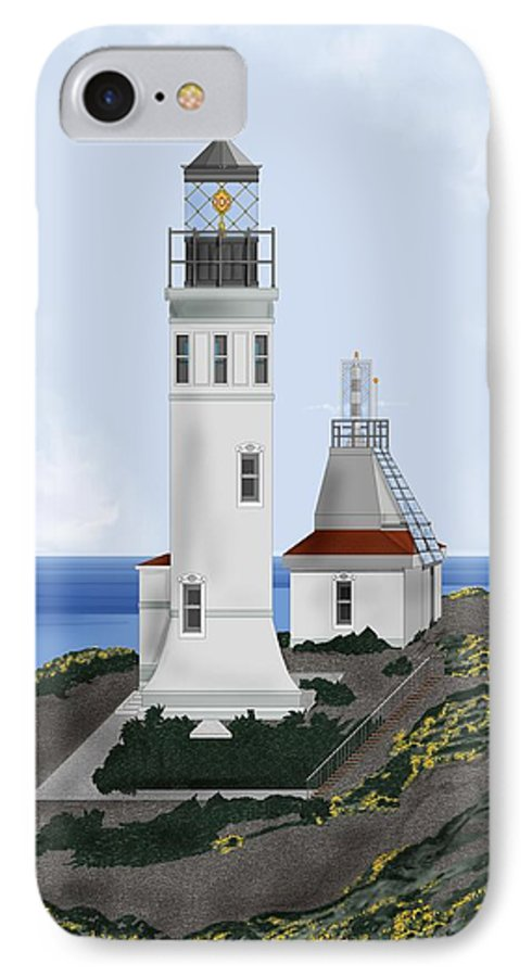 Lighthouse IPhone 7 Case featuring the painting Anacapa Lighthouse California by Anne Norskog
