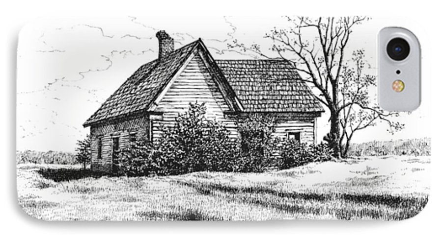 Landscape IPhone 7 Case featuring the drawing Appalachee Farmhouse by Peter Muzyka