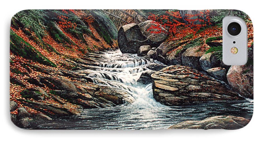 Landscape IPhone 7 Case featuring the painting Autumn Brook by Frank Wilson