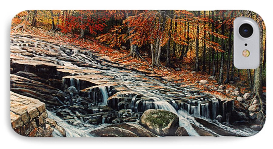 Landscape IPhone 7 Case featuring the painting Autumn Cascade by Frank Wilson