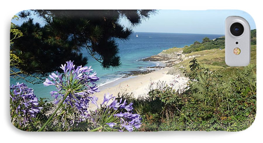 Coast Brittany Flowers Sea Ocean Bay Pines France IPhone 7 Case featuring the photograph Bel-ile-en-mer by Lizzy Forrester