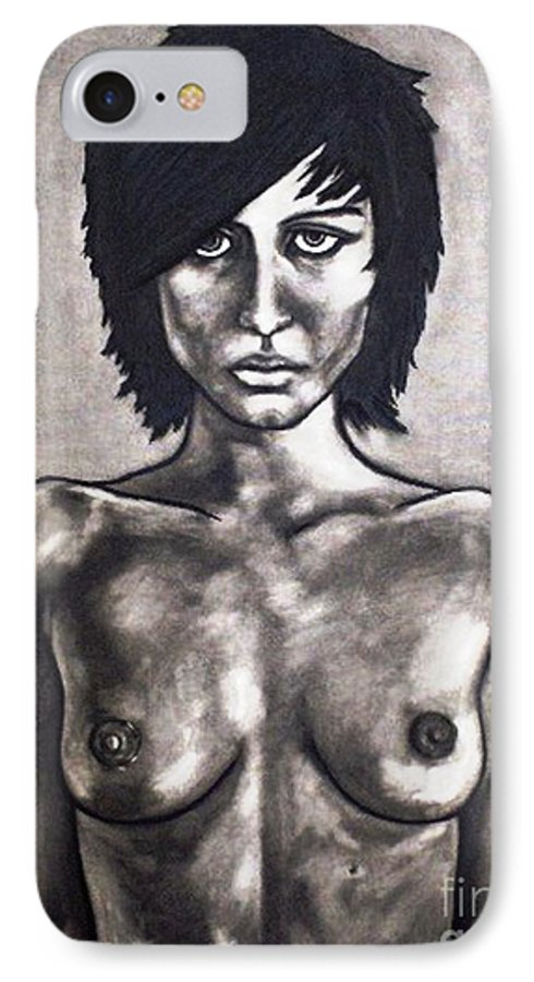 Nude IPhone 7 Case featuring the painting Black by Thomas Valentine