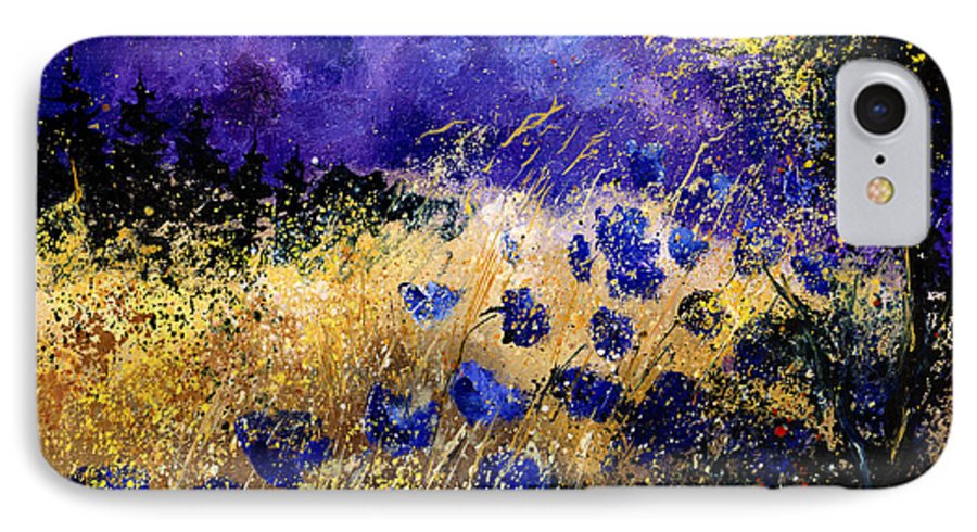 Poppies IPhone 7 Case featuring the painting Blue Cornflowers by Pol Ledent