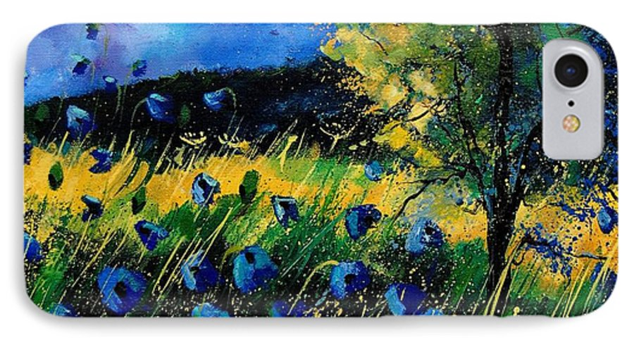Poppies IPhone 7 Case featuring the painting Blue Poppies by Pol Ledent