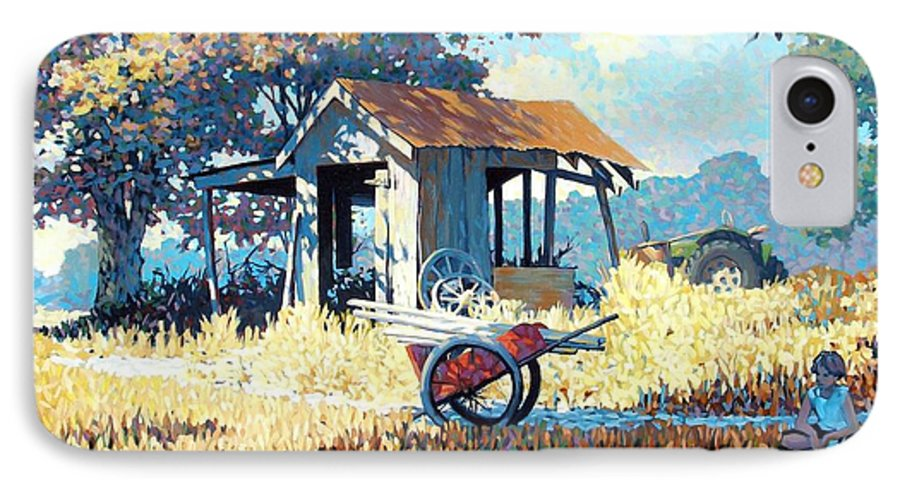 Cart IPhone 7 Case featuring the painting Breaktime by Kevin Lawrence Leveque