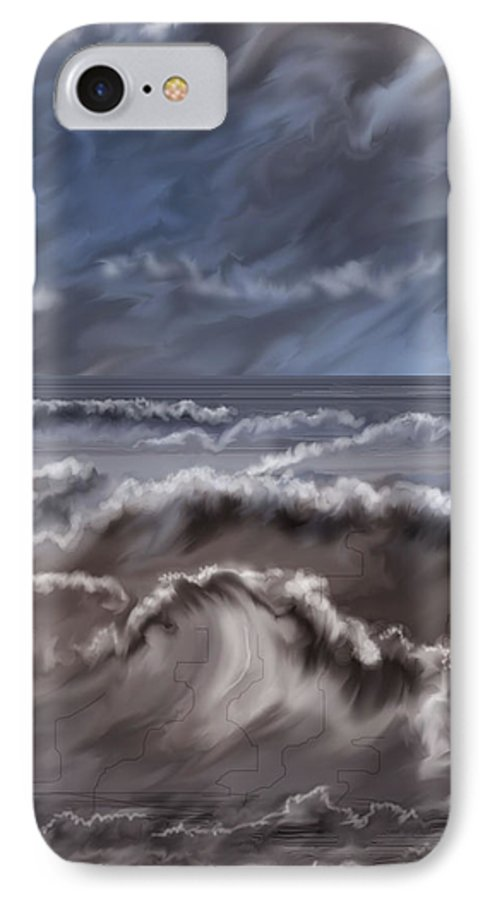 Seascape IPhone 7 Case featuring the painting Caramel Seas by Anne Norskog