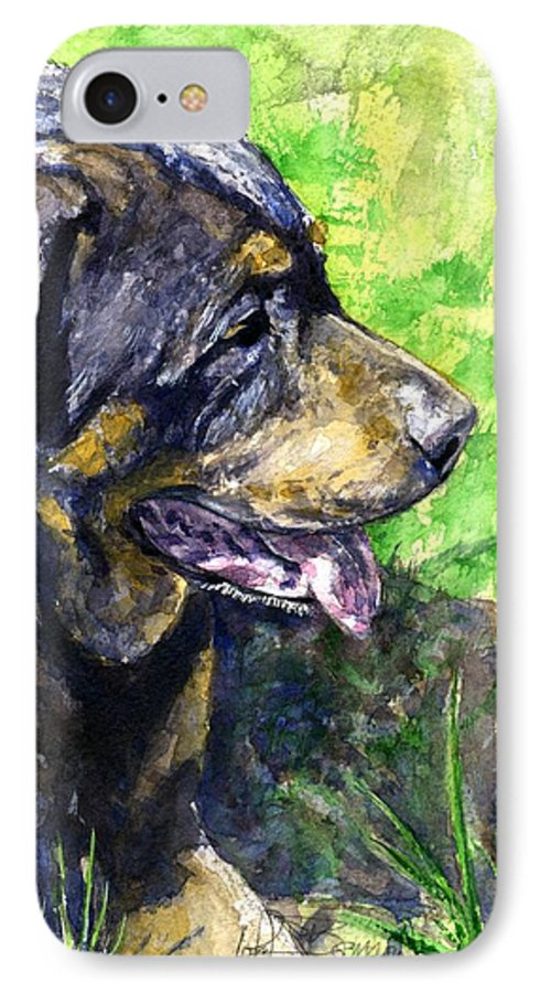 Rottweiler IPhone 7 Case featuring the painting Chaos by John D Benson