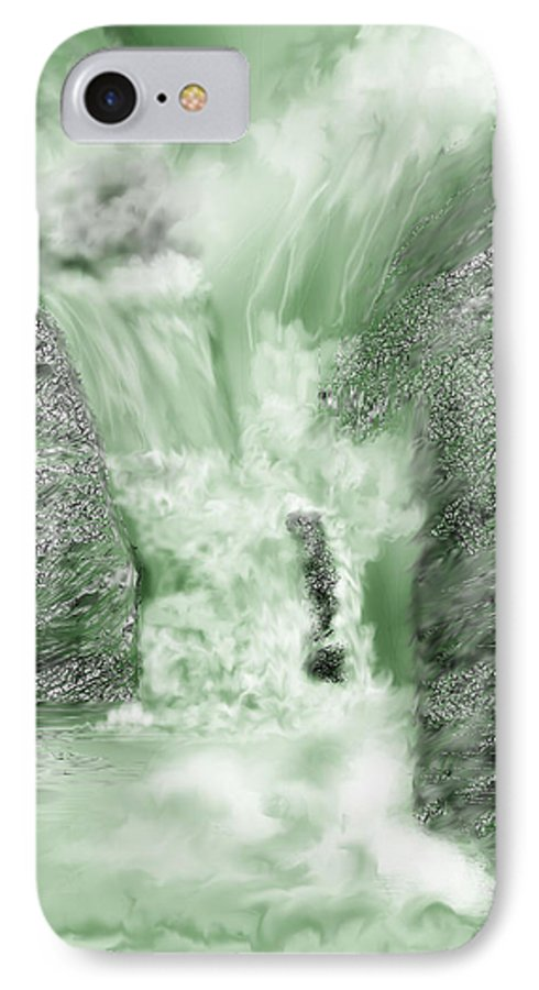 White Water IPhone 7 Case featuring the painting Cherry Creek Lower Run by Anne Norskog