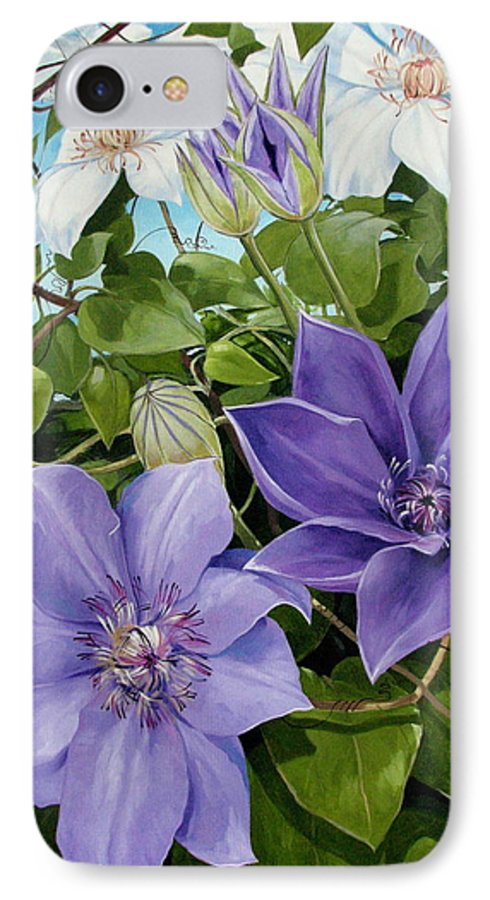 Clematis IPhone 7 Case featuring the painting Clematis 2 by Jerrold Carton