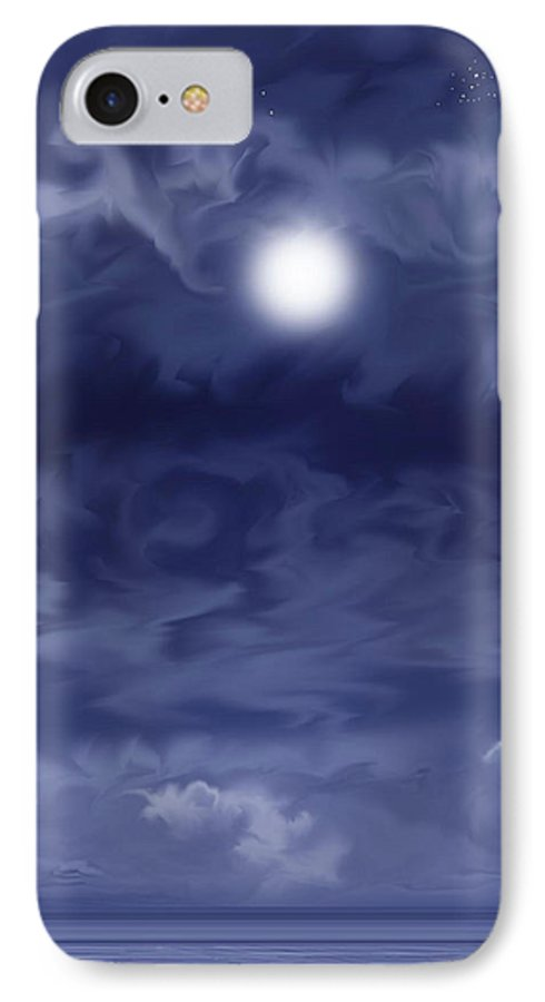 Moon IPhone 7 Case featuring the painting Cobalt by Anne Norskog