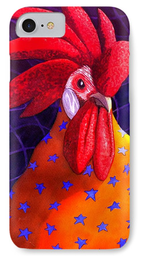 Rooster IPhone 7 Case featuring the painting Cock A Doodle Dude by Catherine G McElroy