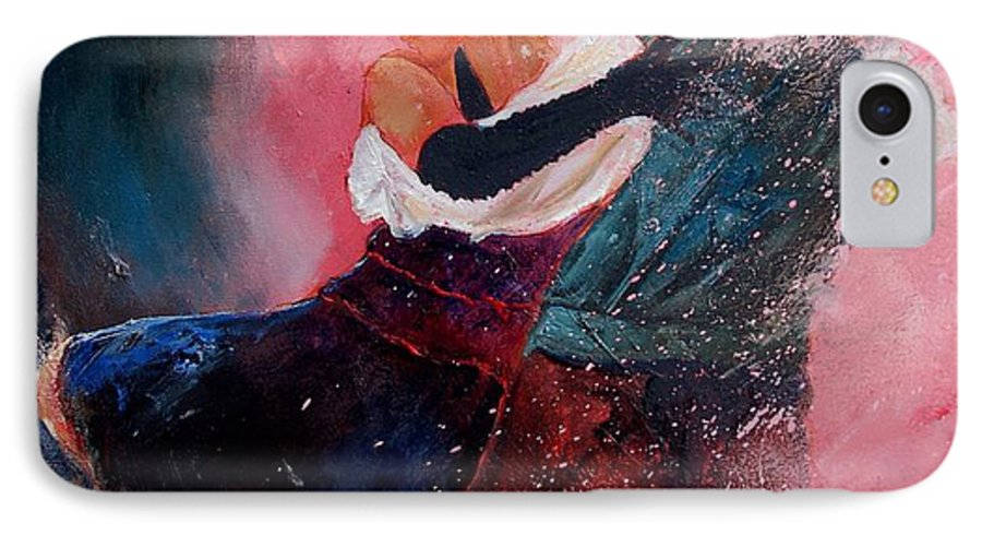 Music IPhone 7 Case featuring the painting Dancing Tango by Pol Ledent