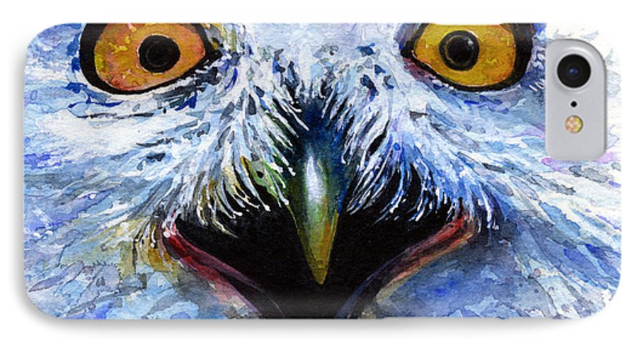 Eye IPhone 7 Case featuring the painting Eyes Of Owls No. 15 by John D Benson