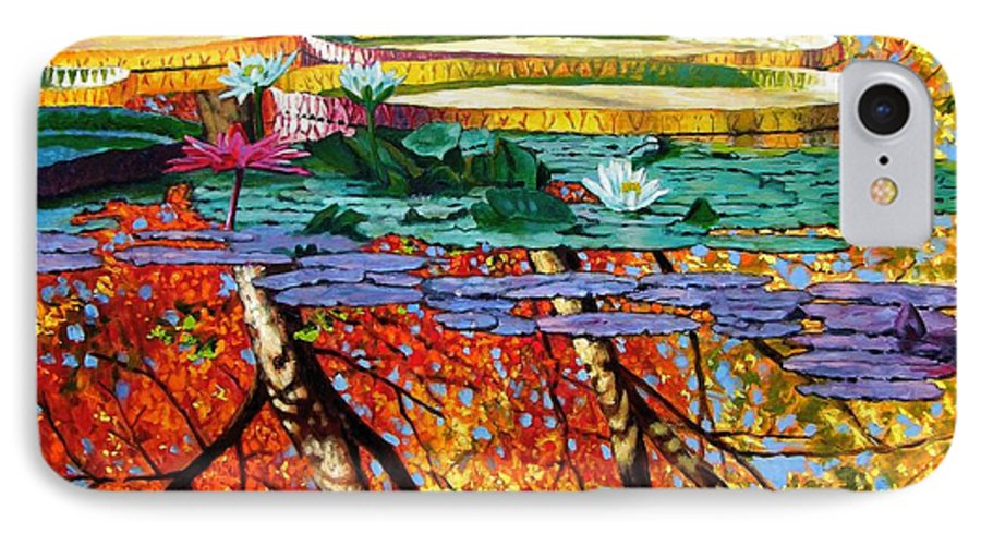 Water Lilies IPhone 7 Case featuring the painting Fall Reflections by John Lautermilch