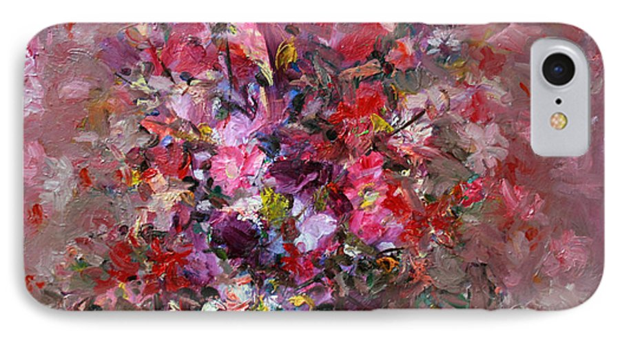 Pink Flowers IPhone 7 Case featuring the painting Flowers by Mario Zampedroni