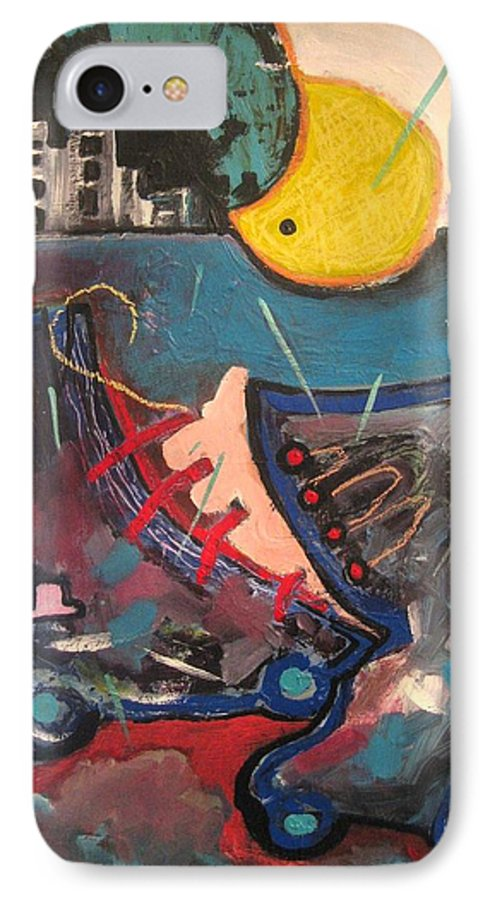 Abstract Paintings IPhone 7 Case featuring the painting Forgotten Days by Seon-Jeong Kim