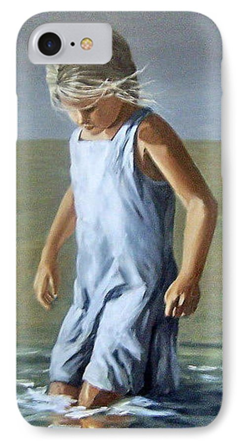 Girl Children Reflection Water Sea Figurative Portrait IPhone 7 Case featuring the painting Girl by Natalia Tejera