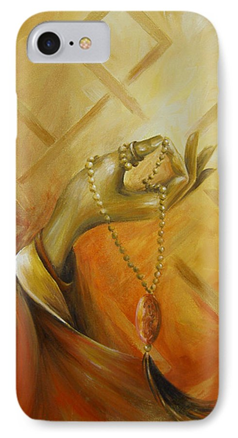 Yoga IPhone 7 Case featuring the painting Gyan Mudra by Dina Dargo