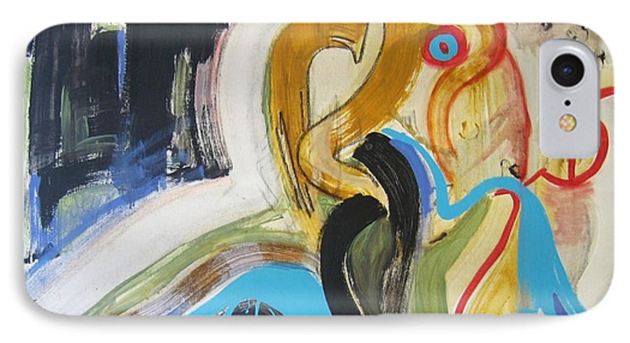 Abstract Art Paintings IPhone 7 Case featuring the painting Hard To Escape by Seon-Jeong Kim