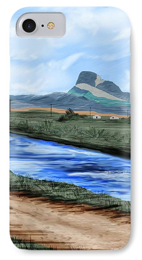 Heart Mountain IPhone 7 Case featuring the painting Heart Mountain And The Canal by Anne Norskog
