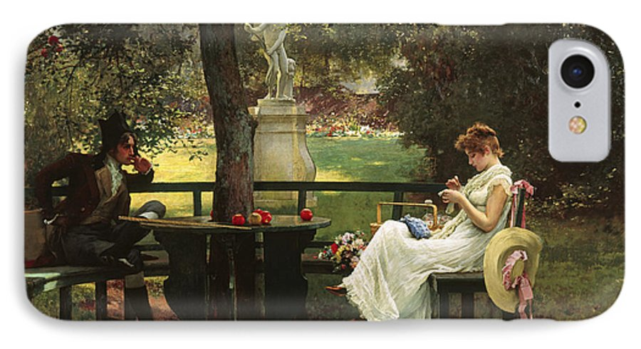 In Love (oil On Canvas) By In Love (oil On Canvas) By Marcus Stone (1840-1921) IPhone 7 Case featuring the painting In Love by Marcus Stone