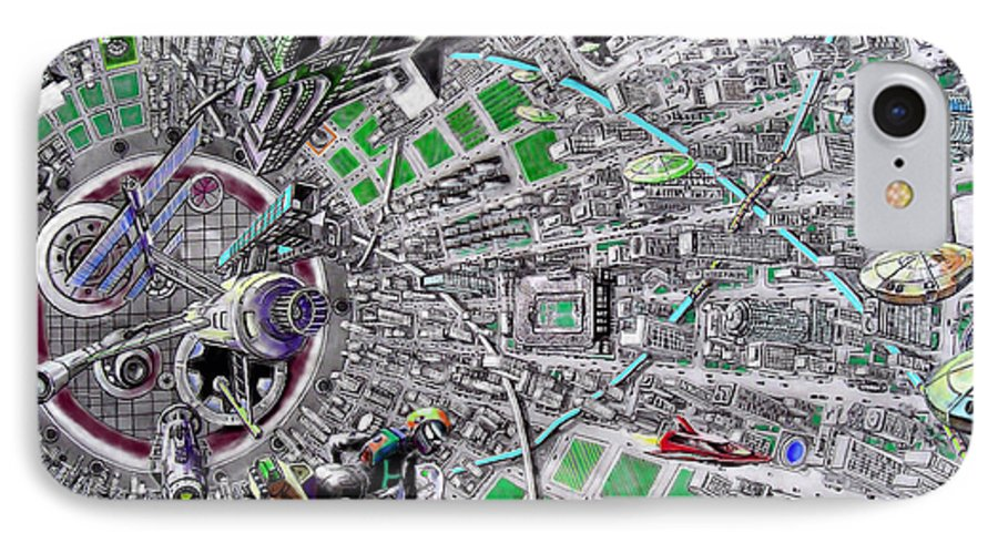 Landscape IPhone 7 Case featuring the drawing Inside Orbital City by Murphy Elliott