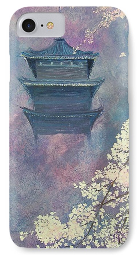 Landscape Japan IPhone 7 Case featuring the painting Japanese Spring Scene by Lizzy Forrester