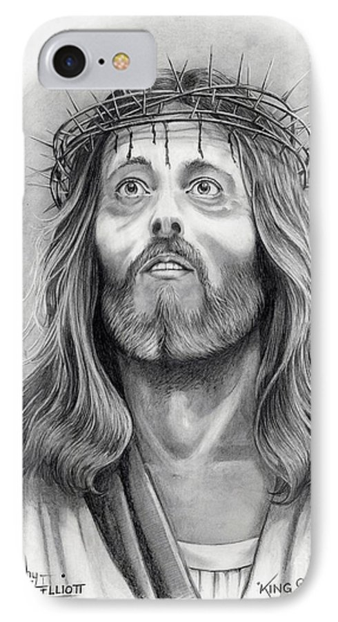 Jesus Christ IPhone 7 Case featuring the drawing King Of Kings by Murphy Elliott