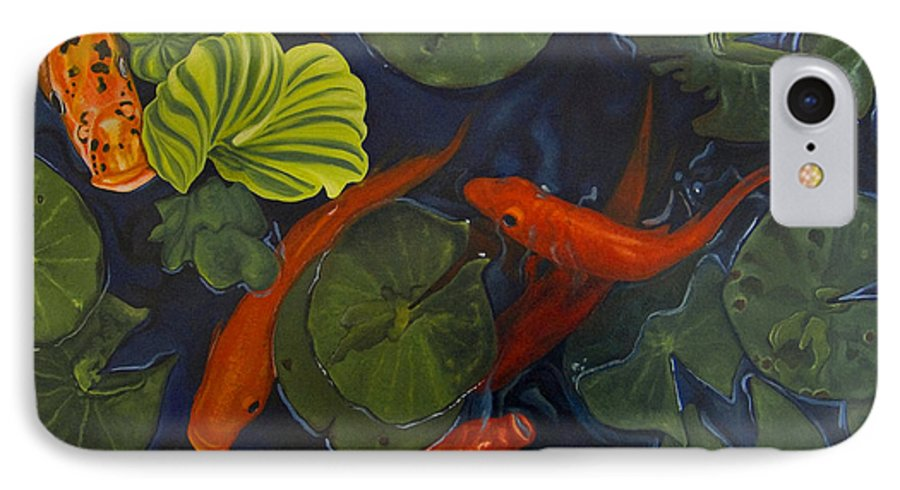 Painting IPhone 7 Case featuring the painting Koi Ballet by Peter Muzyka