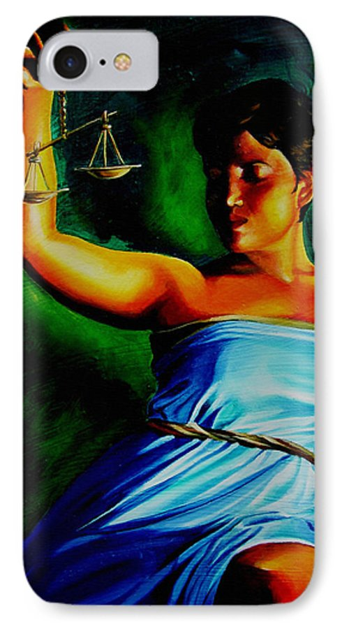 Law Art IPhone 7 Case featuring the painting Lady Justice by Laura Pierre-Louis