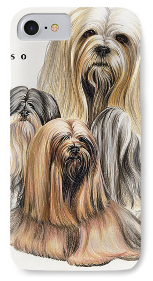 Non-sporting IPhone 7 Case featuring the drawing Lhasa Apso by Barbara Keith