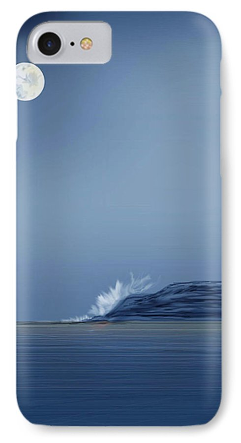 Seascape IPhone 7 Case featuring the painting Looking At The Moon by Anne Norskog