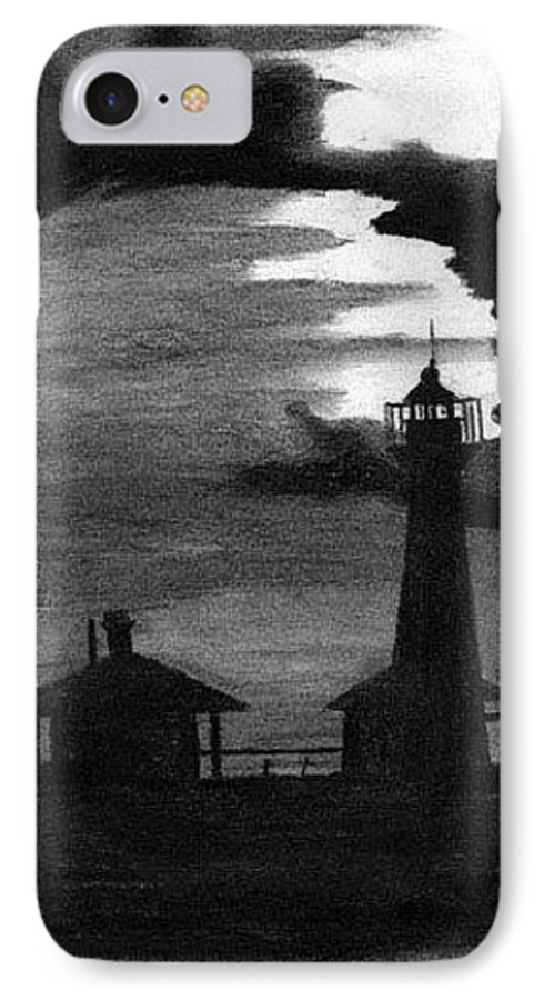 Landscape IPhone 7 Case featuring the drawing Lydia Ann Lighthouse by Adam Johnson