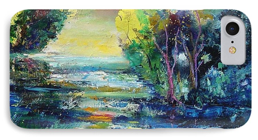 Pond IPhone 7 Case featuring the painting Magic Pond by Pol Ledent