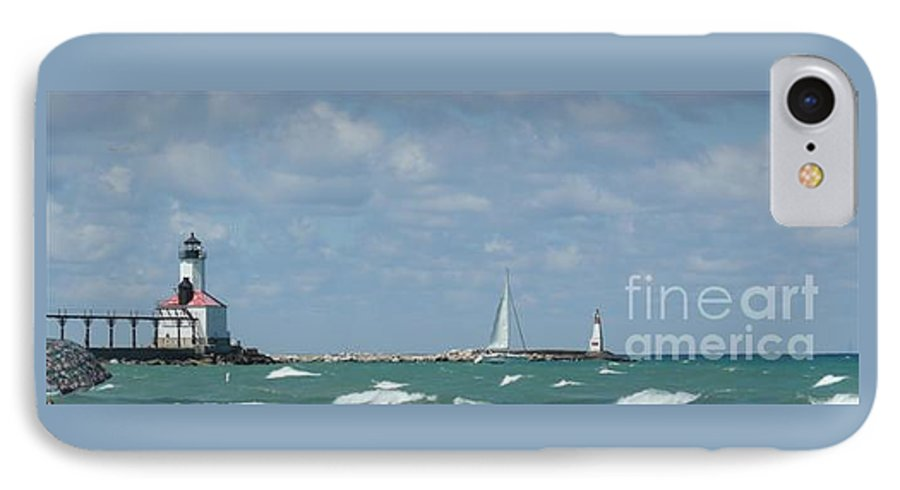 Scenery IPhone 7 Case featuring the photograph Michigan City Beach Lighthouse by Barb Montanye Meseroll