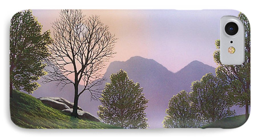 Landscape IPhone 7 Case featuring the painting Misty Spring Meadow by Frank Wilson