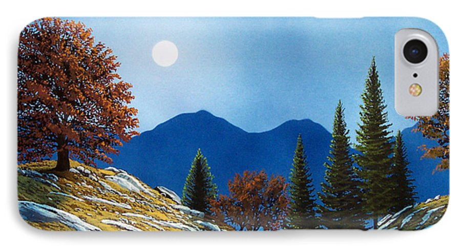 Landscape IPhone 7 Case featuring the painting Mountain Moonrise by Frank Wilson
