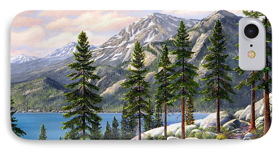 Landscape IPhone 7 Case featuring the painting Mountain Trail by Frank Wilson