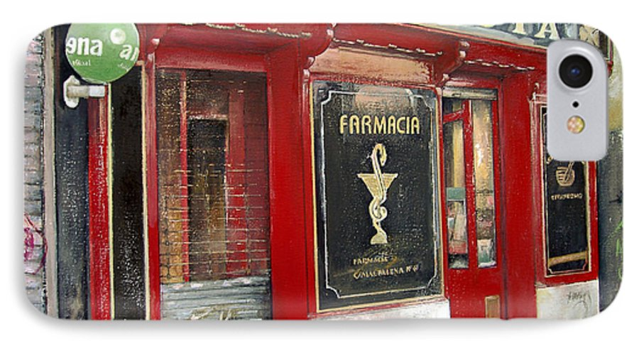 Farmacia IPhone 7 Case featuring the painting Old Pharmacy by Tomas Castano