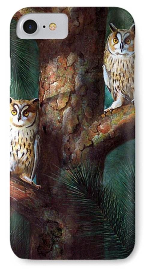 Wildlife IPhone 7 Case featuring the painting Owls In Moonlight by Frank Wilson