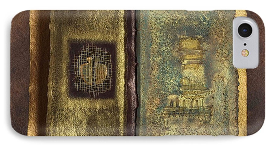 Artist-book IPhone 7 Case featuring the mixed media Page Format No 1 Transitional Series by Kerryn Madsen-Pietsch