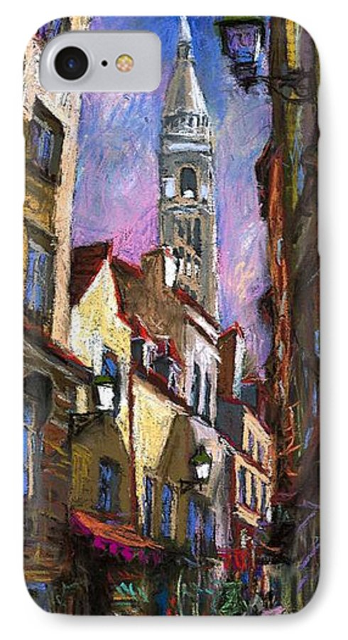 Pastel IPhone 7 Case featuring the painting Paris Montmartre by Yuriy Shevchuk