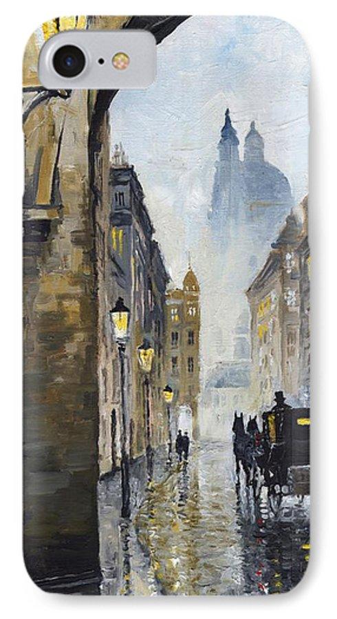 Prague IPhone 7 Case featuring the painting Prague Old Street 01 by Yuriy Shevchuk