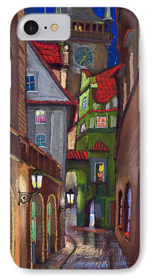 Pastel IPhone 7 Case featuring the painting Prague Old Street by Yuriy Shevchuk