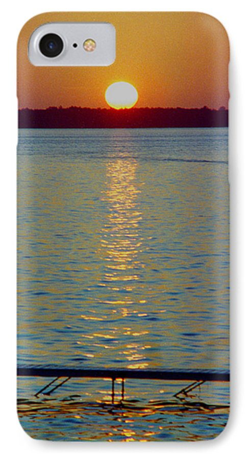 Sunset IPhone 7 Case featuring the photograph Quite Pier Sunset by Randy Oberg