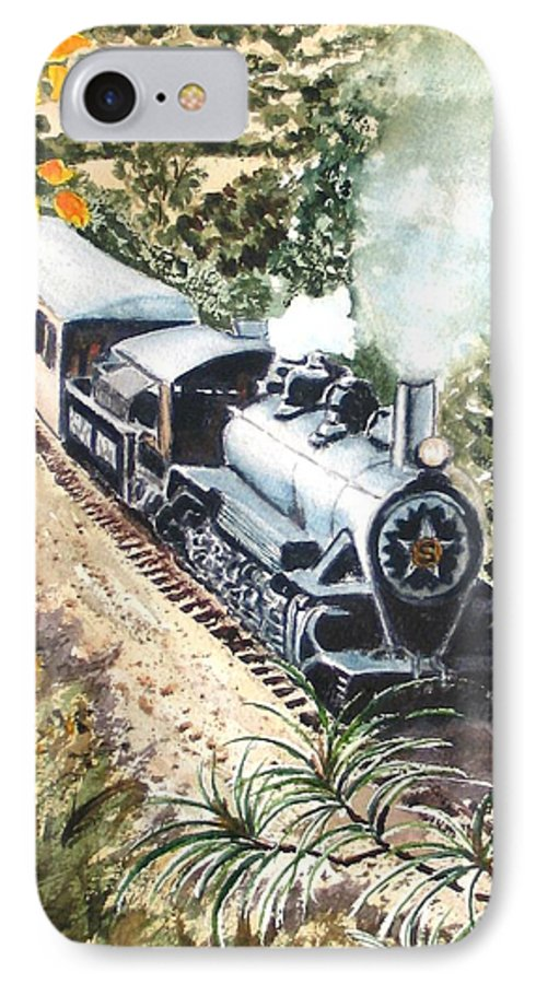 Trains IPhone 7 Case featuring the painting Round The Bend by Karen Ilari